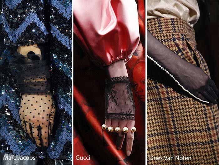модные прозрачные перчатки осень - зима 2016 - 2017, фото