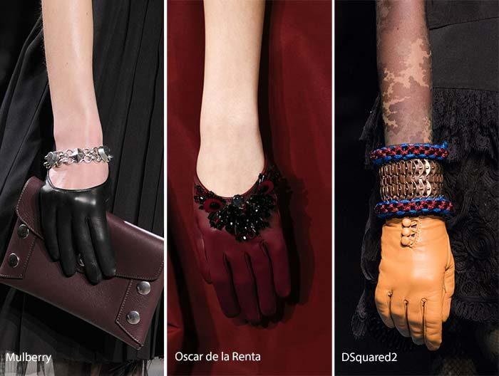 модные кожаные перчатки осень - зима 2016 - 2017, фото