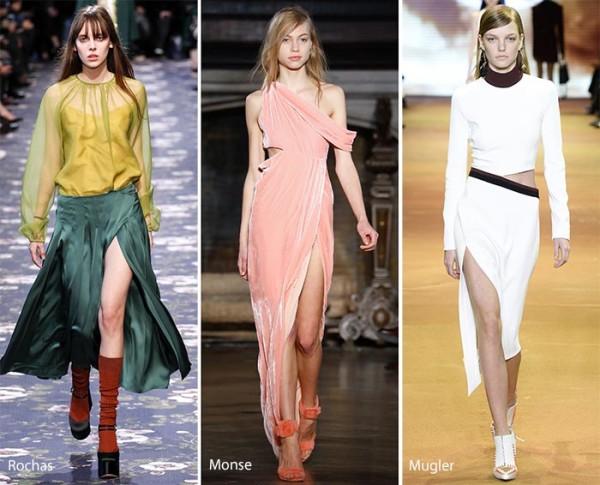 модные юбки с разрезом 2016 - 2017, фото
