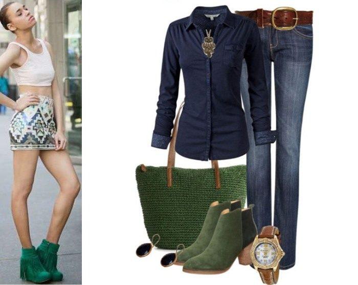 Что одеть с зеленой  фото