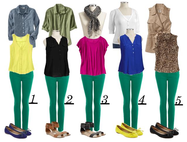 С чем одевать зелёные штаны