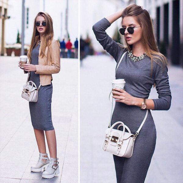 С чем носить осеннее платье