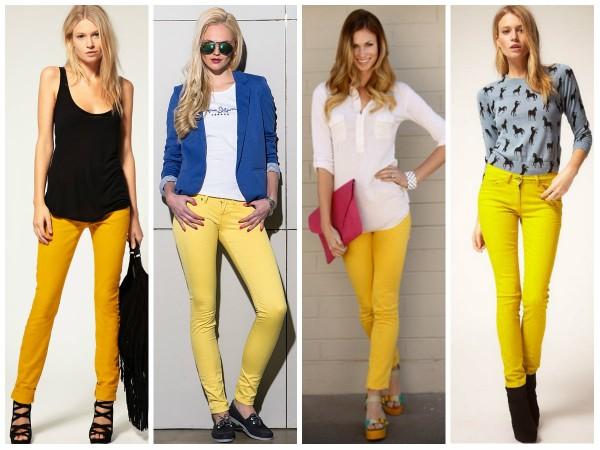 Лимонные брюки с чем носить