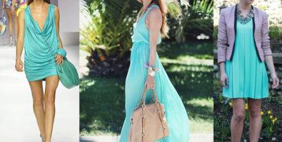 С чем надеть бирюзовое платье?