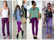 Стильный гардероб или брюки и джинсы фиолетового цвета, с чем их носить?