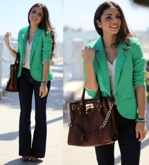 Зеленый пиджак: с чем носить изоражения