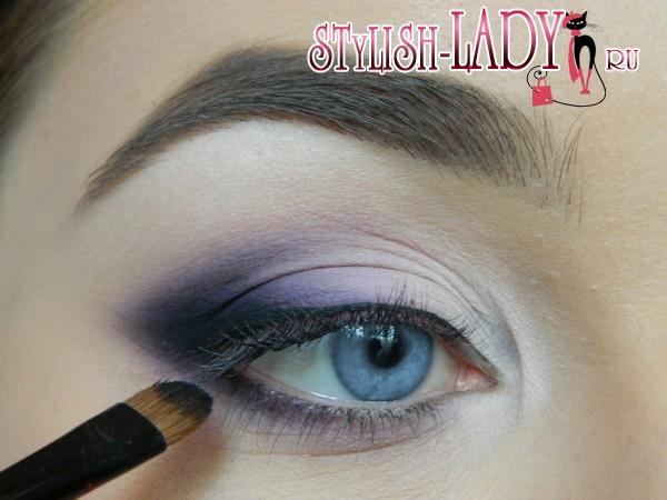 макияж глаз с фиолетовыми тенями, фото