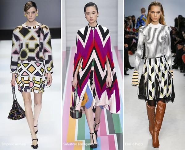 модные геометрические принты осень - зима 2016 - 2017, фото