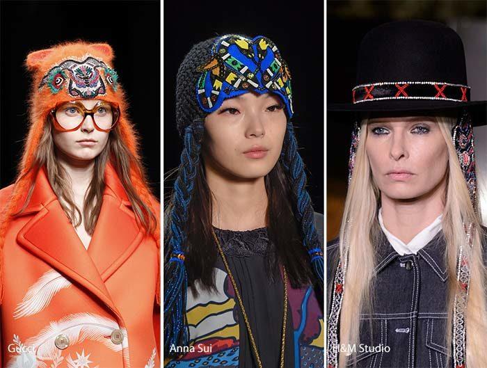 модные вязаные шапки с завязками осень - зима 2016 - 2017, фото