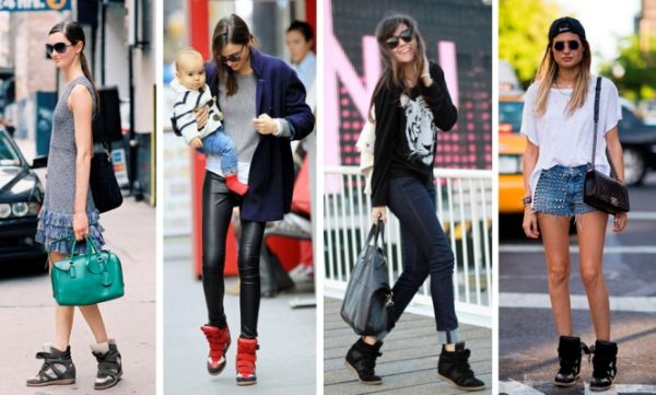 с чем носить высокие кеды и кроссовки. фото