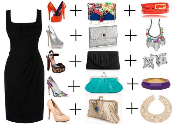 Несколько возможных сочетаний: черное платье + аксессуары
