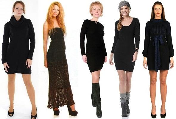 с чем носить вязаное черное платье, фото