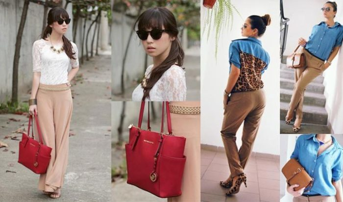 C чем носить бежевые брюки, бежевые джинсы? Фото модных сочетаний