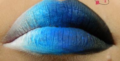 Как сделать градиентный макияж губ в синих тонах