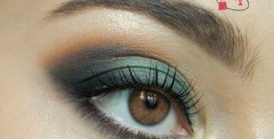 Насыщенный макияж в золотисто-изумрудных оттенках — мастер-класс