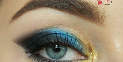 Яркий макияж на Новый год акварелью