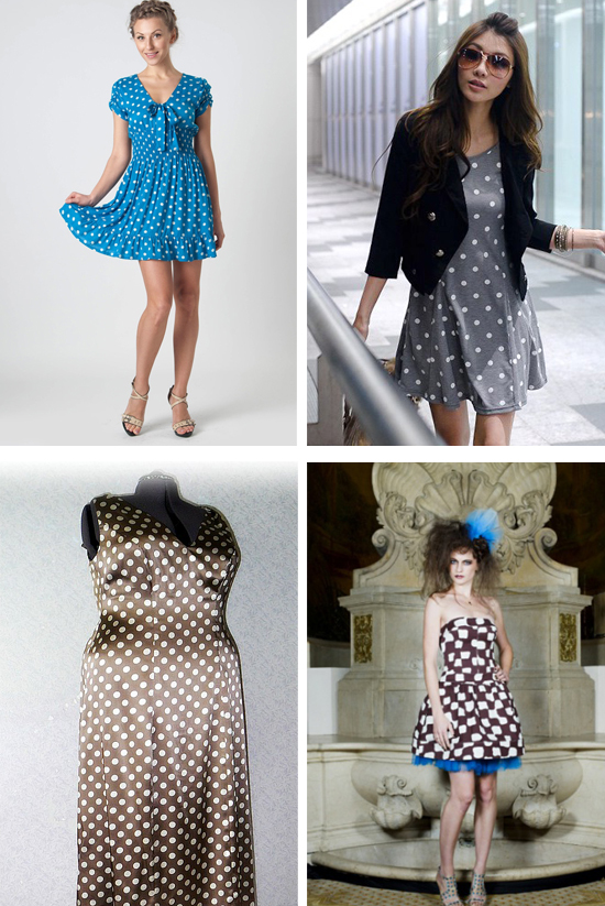 синее платье в горошек, фото