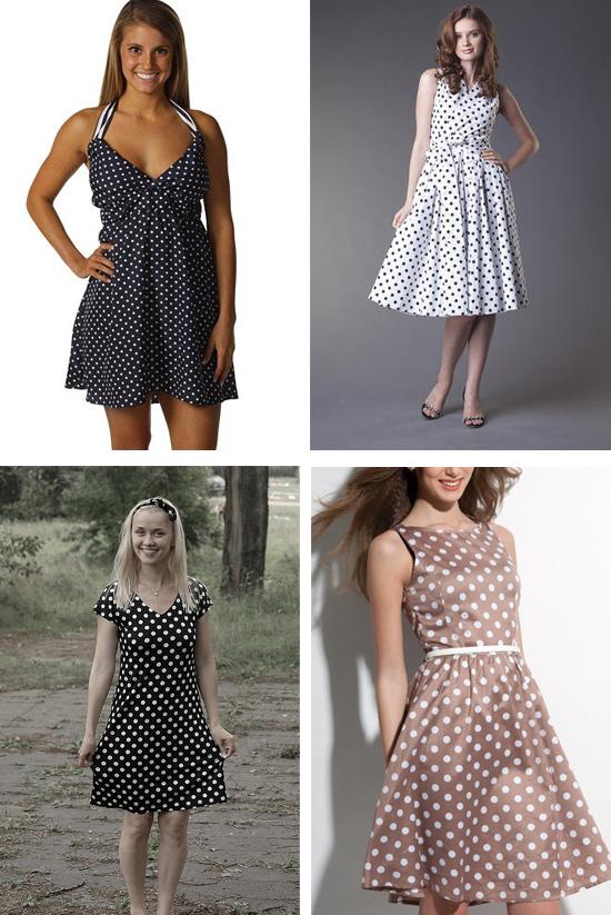 коричневое, белое, черное платье в горошек, фото