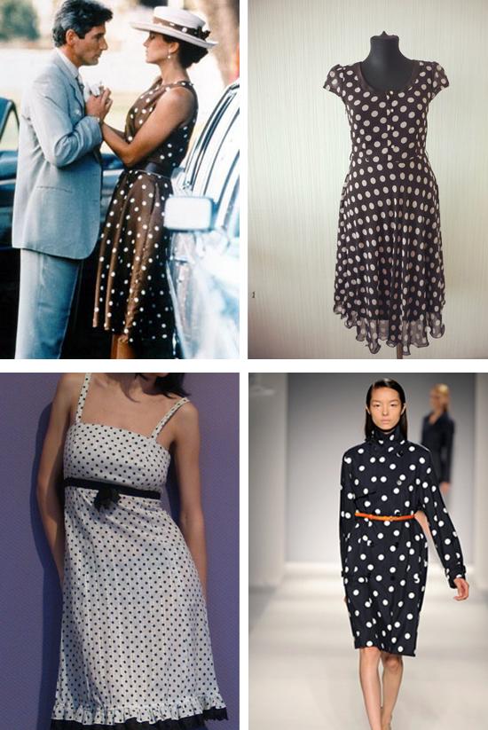 Фасоны для черного платья в белый горошек