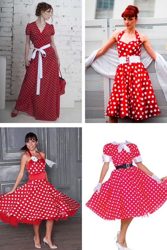 красное платье в горошек, фото