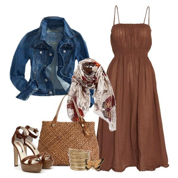 Темно коричневое платье с чем носить