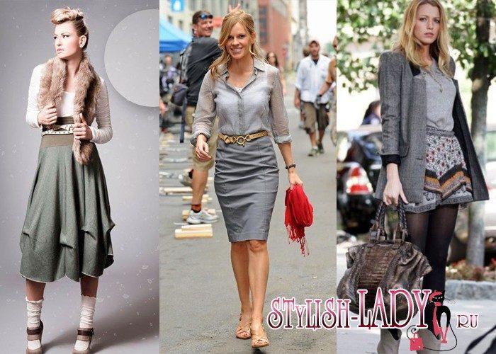 Блузка под серую юбку