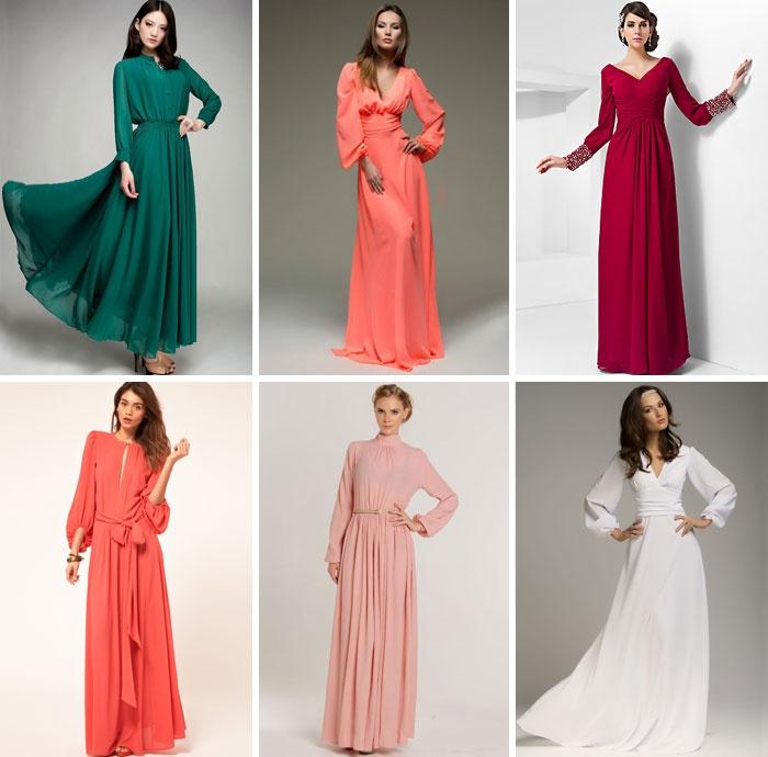 Платья длинные шифоновые фасоны