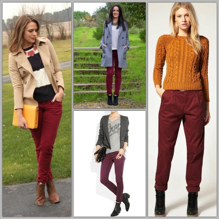 Бордовые джинсы с чем носить фото