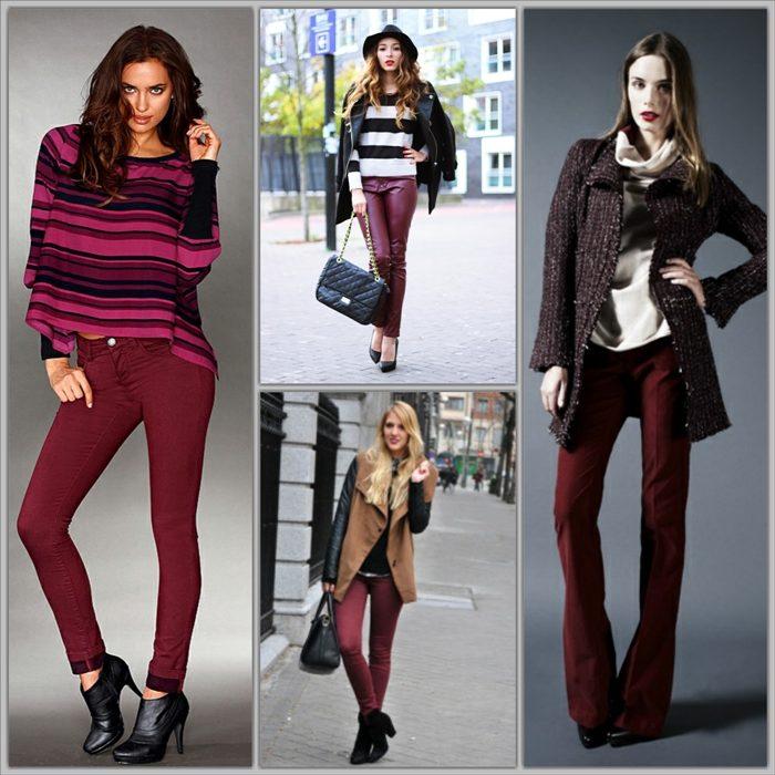 0cef142b25a Какие цвета гармонируют с бордовым  С чем носить бордовые джинсы