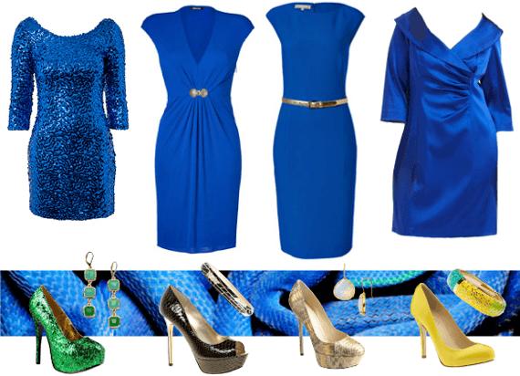 Зеленые туфли к синему платью