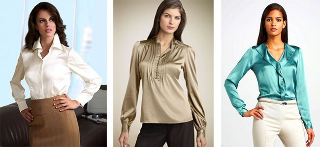 Классические блузки из атласа
