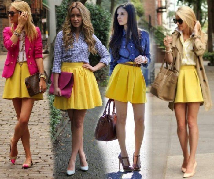 Что одеть с желтой юбкой фото