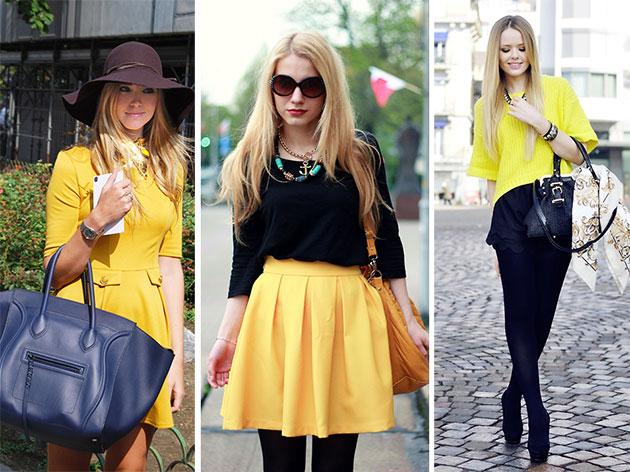 Черная юбка и желтая блузка