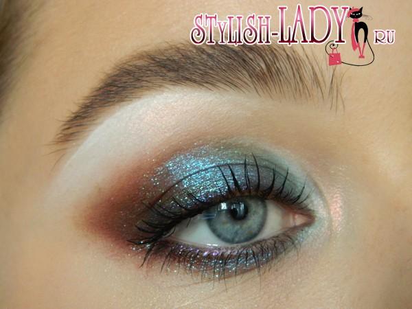 макияж с блестящими тенями, фото