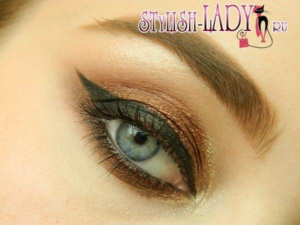 макияж с бронзовыми тенями, фото
