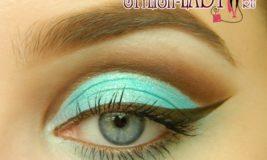 Яркий макияж с бирюзовыми тенями