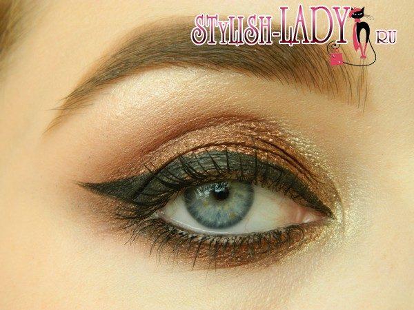 бронзовый макияж глаз, фото