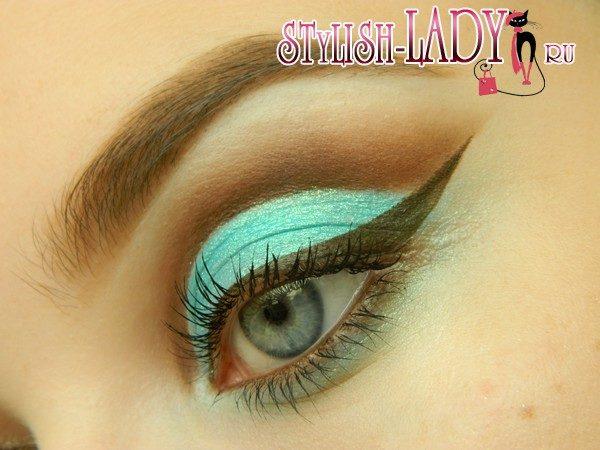 макияж с бирюзовыми тенями, фото