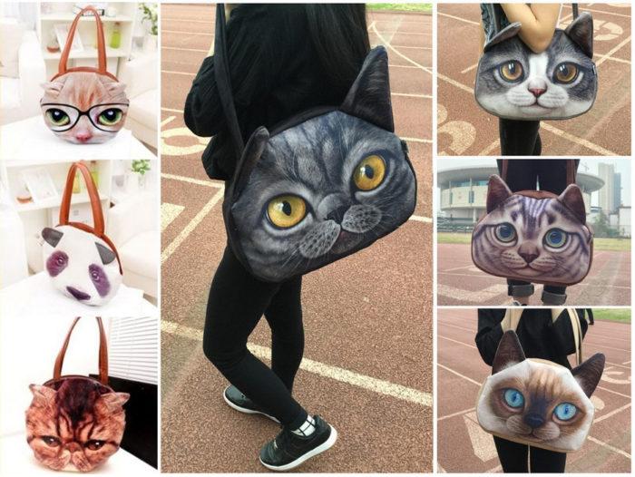 сумки с кошачьим принтом, фото