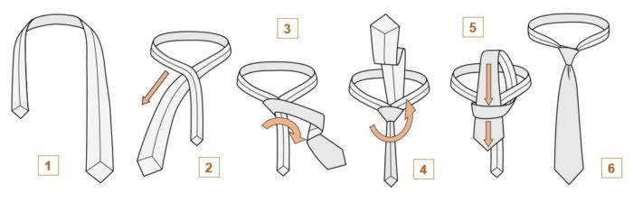 как завязать женский галстук, узел кент