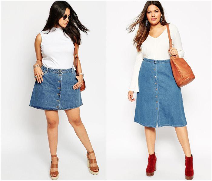 Юбки джинс для полных