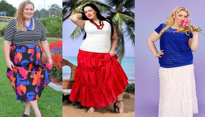 цветные юбки для полных, фото