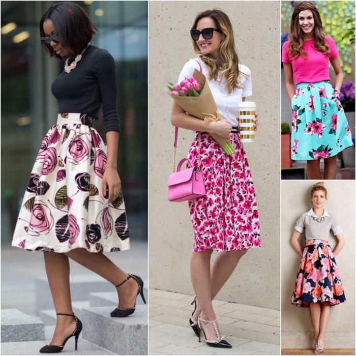 С чем носить цветочный принт юбки