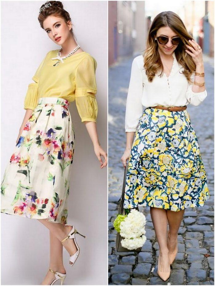 Пышная цветастая юбка
