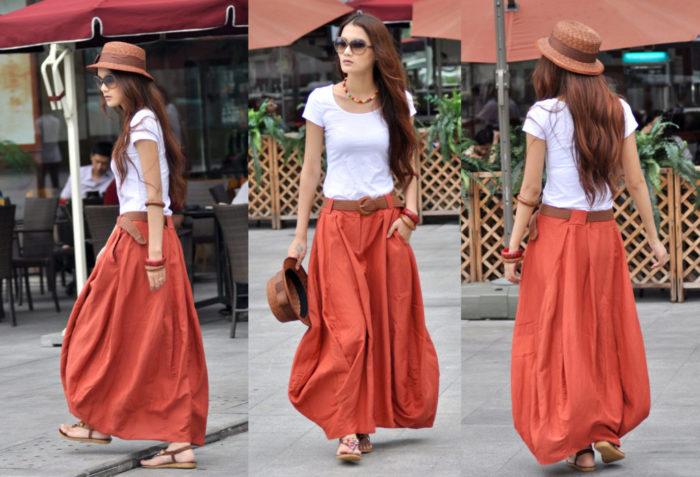 Модная юбка-скатерть в стиле бохо