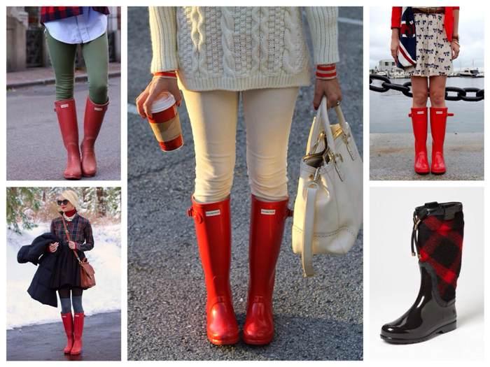 с чем носить красные резиновые сапоги, фото