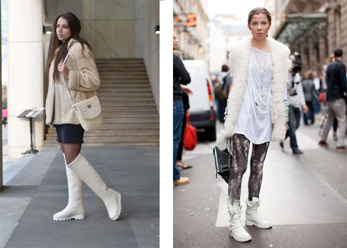 белые сапоги без каблука, фото