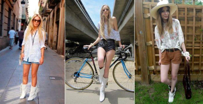 с чем носить белые сапоги летом, фото