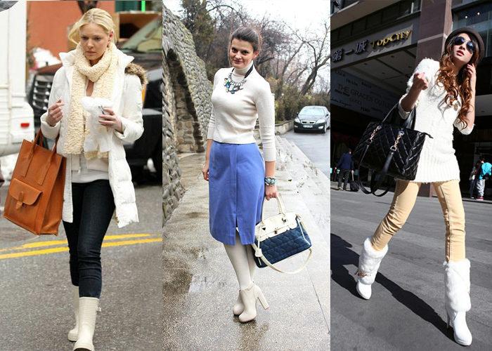 с чем носить белые сапоги осенью, фото