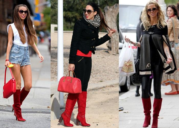с чем носить красные замшевые сапоги, фото